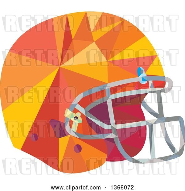 Vector Clip Art of Retro Low Polygon Styled American Football Helmet
