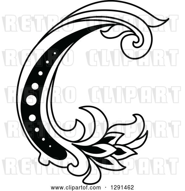 Vector Clip Art of Retro Lowercase Floral Letter C