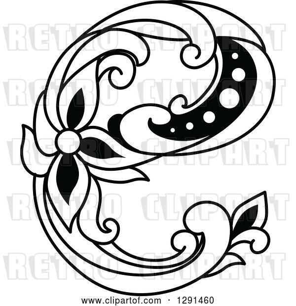 Vector Clip Art of Retro Lowercase Floral Letter E