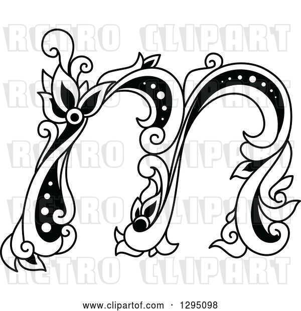 Vector Clip Art of Retro Lowercase Floral Letter M