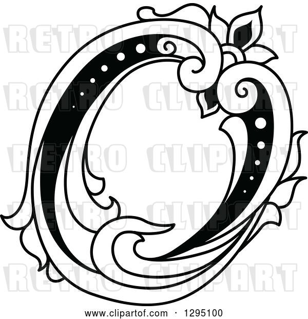 Vector Clip Art of Retro Lowercase Floral Letter O