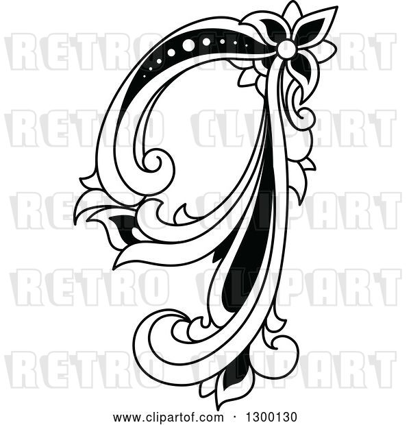 Vector Clip Art of Retro Lowercase Floral Letter Q