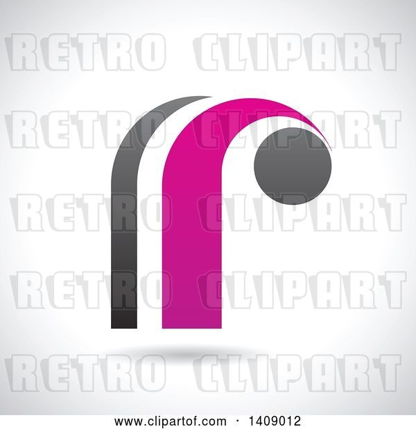 Vector Clip Art of Retro Lowercase Letter R Abstract Design