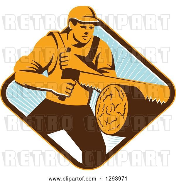 Vector Clip Art of Retro Lumberjack Logger Guy Using a Crosscut Saw in a Yellow Brown White and Blue Sunny Diamond