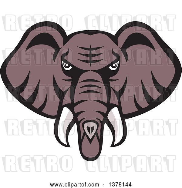 Vector Clip Art of Retro Mad African Elephant Head