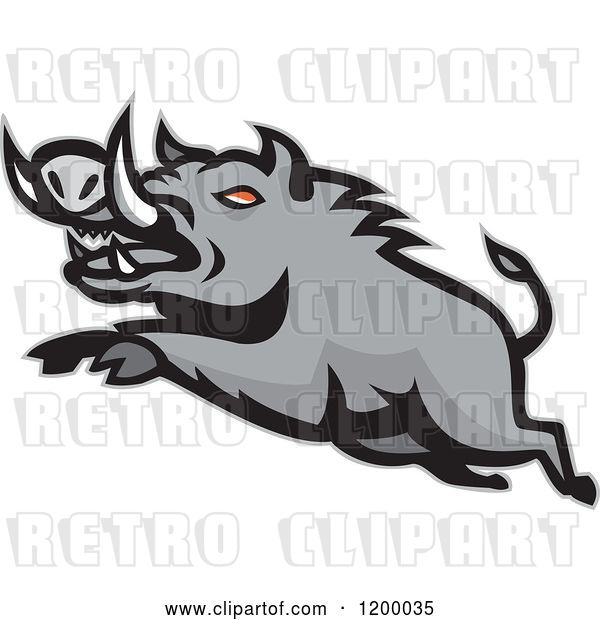 Vector Clip Art of Retro Mad Angry Razorback Boar Leaping
