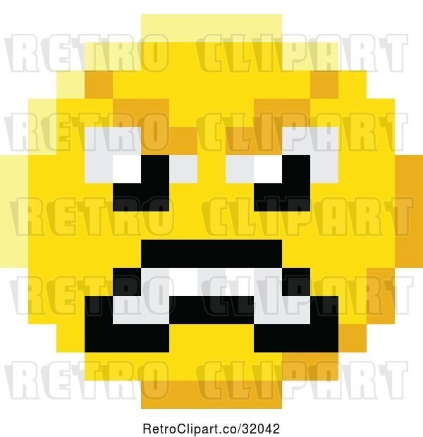Vector Clip Art of Retro Mad Cartoon 8 Bit Video Game Style Emoji Smiley Face