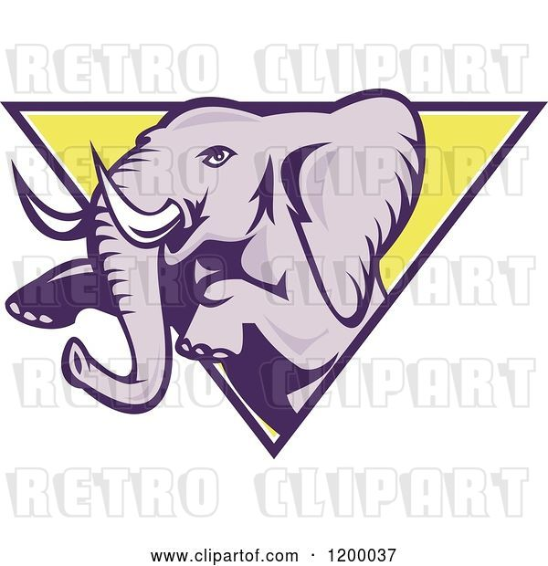 Vector Clip Art of Retro Mad Elephant Rearing Through a Triangle