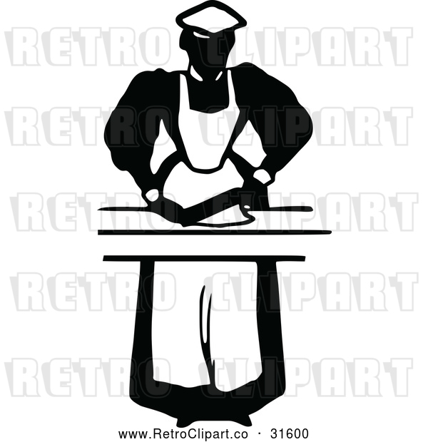Vector Clip Art of Retro Maid Prepping Food 1