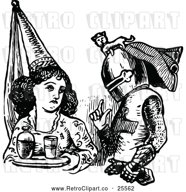 Vector Clip Art of Retro Maiden and Knight
