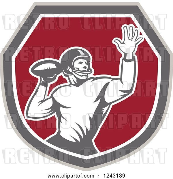 Vector Clip Art of Retro Male American Football Player Throwing in a Shield