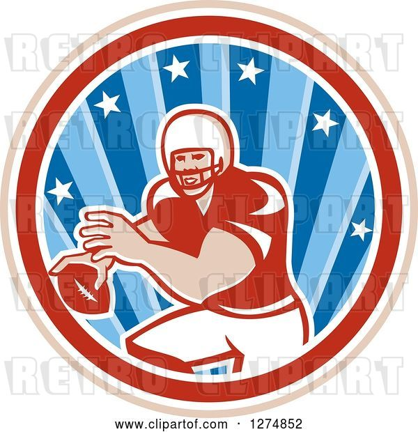 Vector Clip Art of Retro Male American Football Player Throwing in a Tan White Red and Blue Star Circle