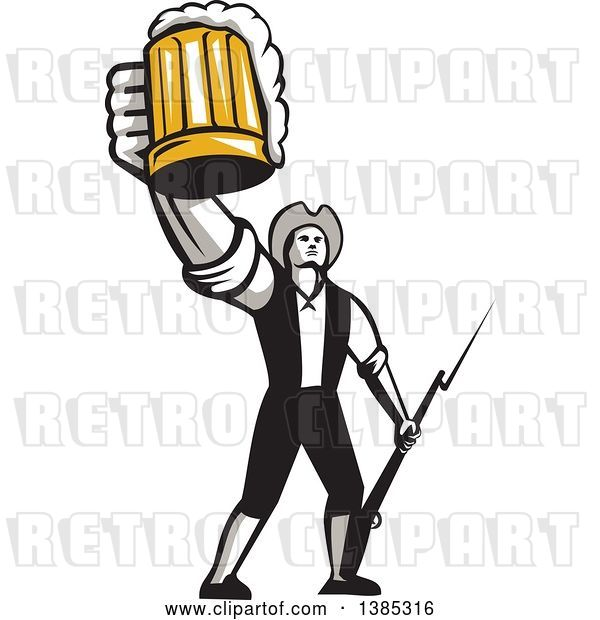 Vector Clip Art of Retro Male American Patriot Toasting with a Beer Mug and Holding a Bayonet