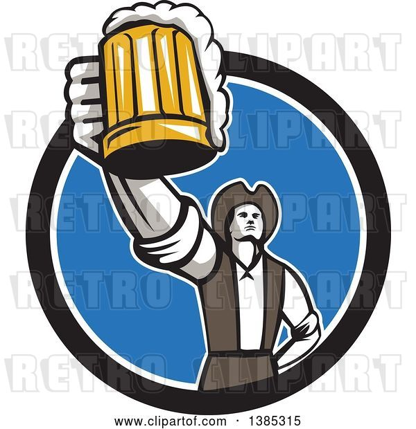 Vector Clip Art of Retro Male American Patriot Toasting with a Beer Mug in a Black White and Blue Circle