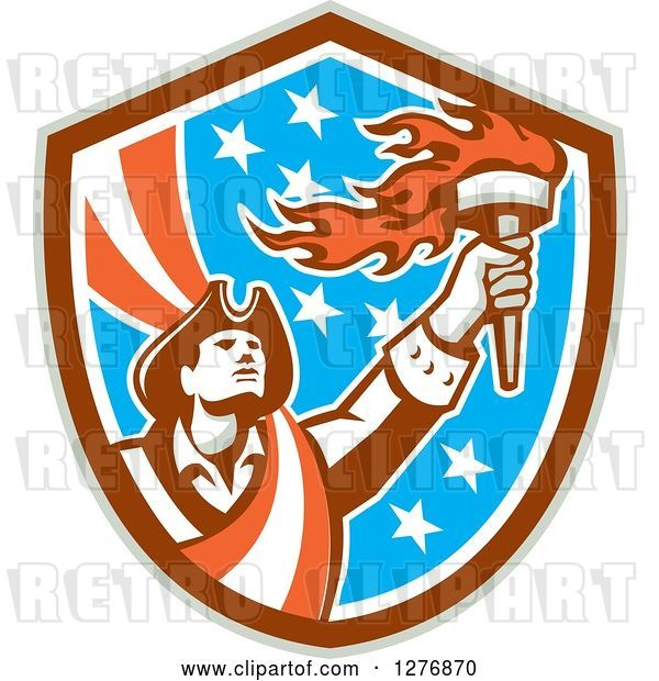 Vector Clip Art of Retro Male American Patriot with a Torch in a Patriotic Shield