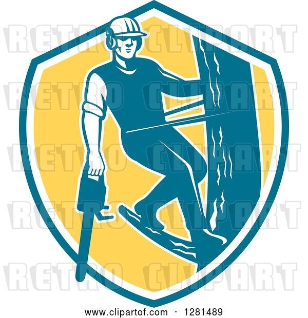 Vector Clip Art of Retro Male Arborist Climbing a Pole with a Chainsaw in a Blue White and Yellow Shield