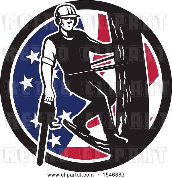 Vector Clip Art of Retro Male Arborist Climbing a Pole with a Chainsaw in an American Flag Circle