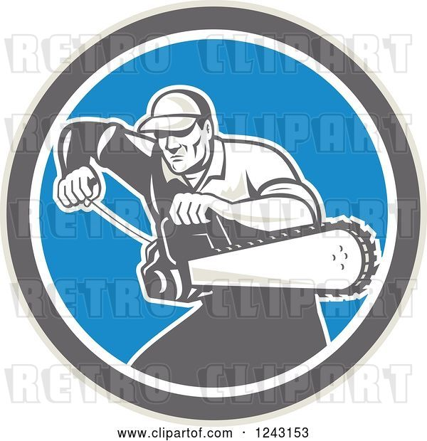 Vector Clip Art of Retro Male Arborist Starting up a Chainsaw in a Blue Circle