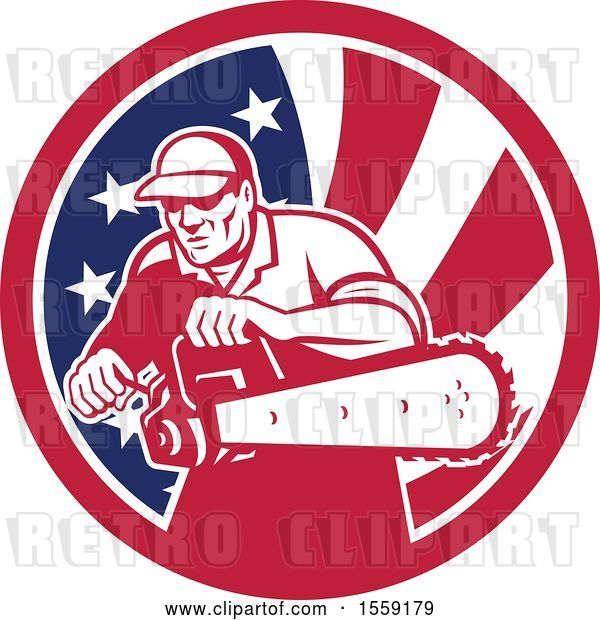 Vector Clip Art of Retro Male Arborist Starting up a Chainsaw in an American Flag Circle