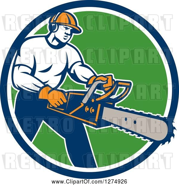Vector Clip Art of Retro Male Arborist Using a Chainsaw in a Blue White and Green Circle