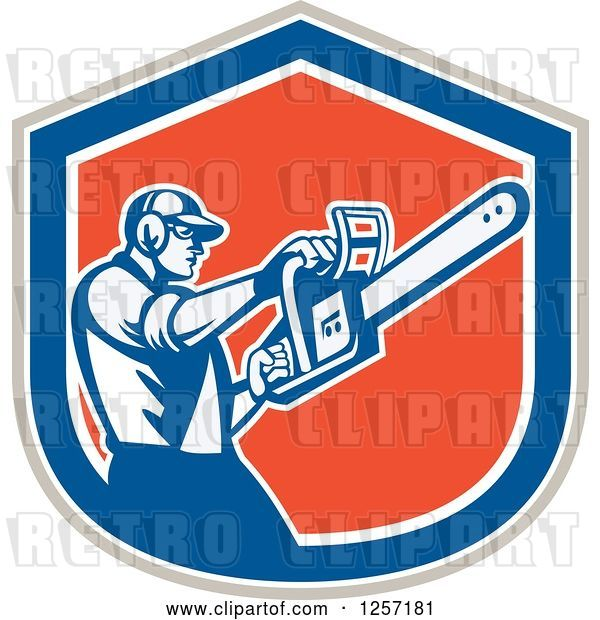 Vector Clip Art of Retro Male Arborist Using a Chainsaw in a Gray White Blue and Orange Shield