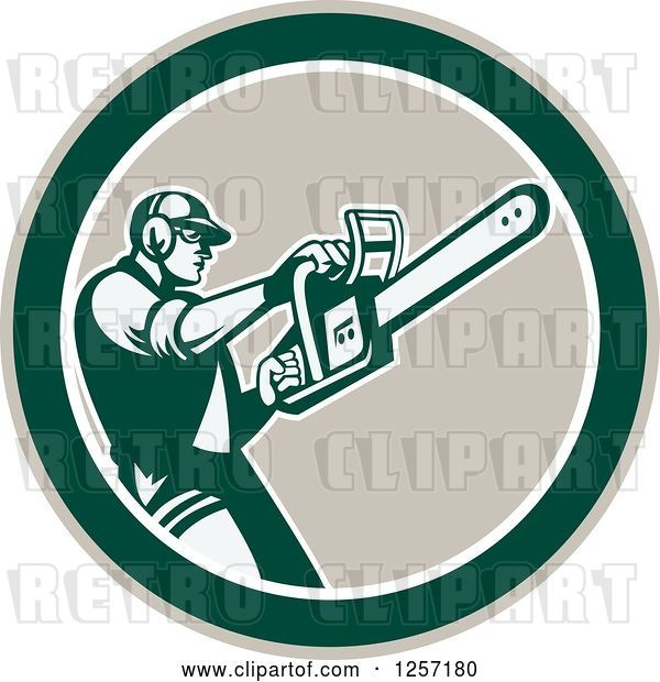 Vector Clip Art of Retro Male Arborist Using a Chainsaw in a Taupe White and Green Circle