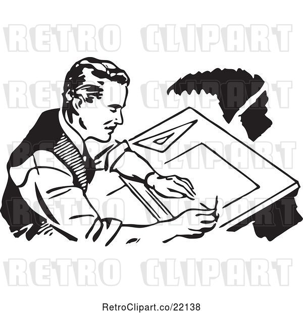 Vector Clip Art of Retro Male Architect Drafting
