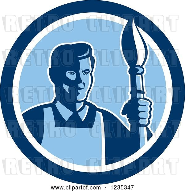 Vector Clip Art of Retro Male Artist with a Paintbrush in a Blue Circle