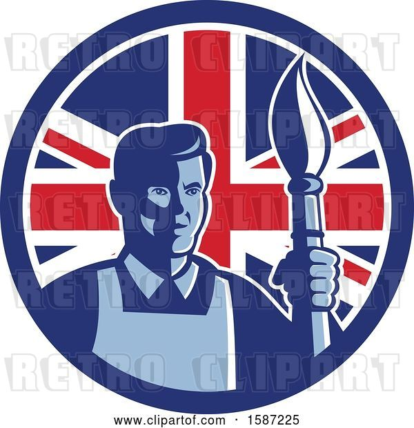 Vector Clip Art of Retro Male Artist with a Paintbrush in a Union Jack Flag Circle