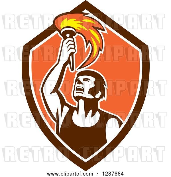 Vector Clip Art of Retro Male Athlete Holding up a Torch in a Brown White and Orange Shield