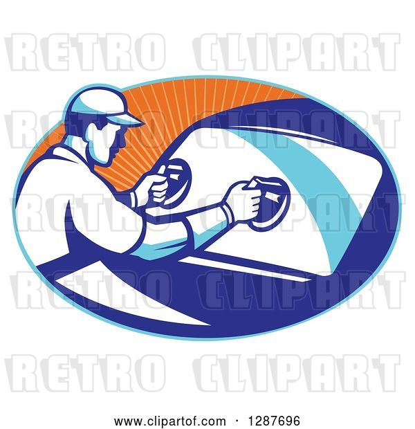 Vector Clip Art of Retro Male Automotive Glass Installer Putting in a New Windshield in a Blue and Orange Ray Oval