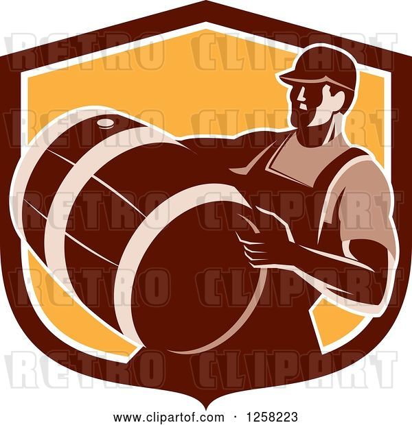 Vector Clip Art of Retro Male Bartender Carrying a Keg in a Brown and Orange Shield