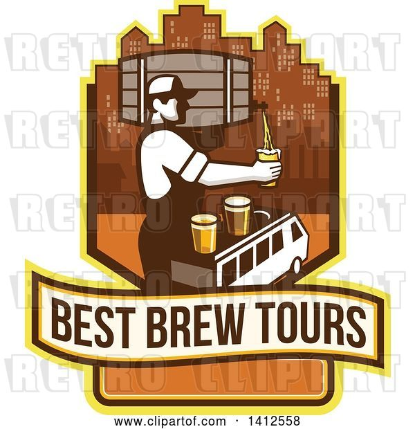 Vector Clip Art of Retro Male Bartender Putting a Beer on Top of a Brew Tour Van in a Cityscape Crest
