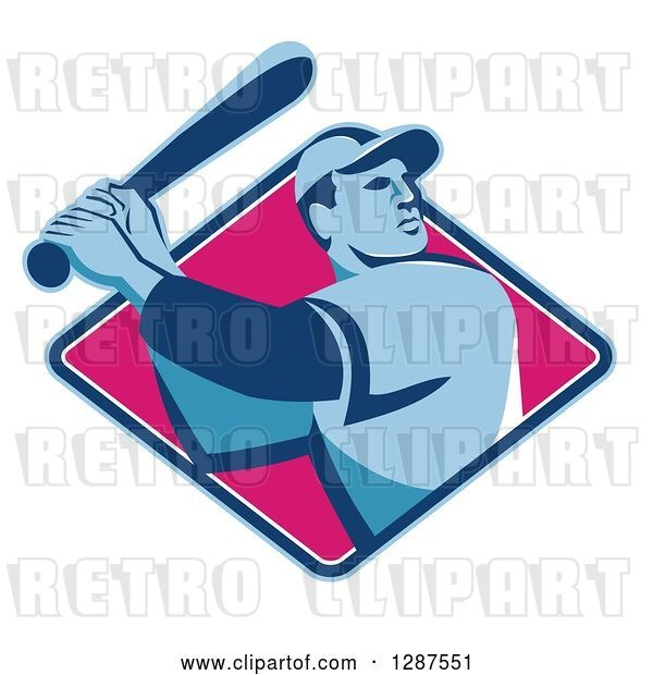 Vector Clip Art of Retro Male Baseball Player Batting Inside a Blue White and Pink Diamond