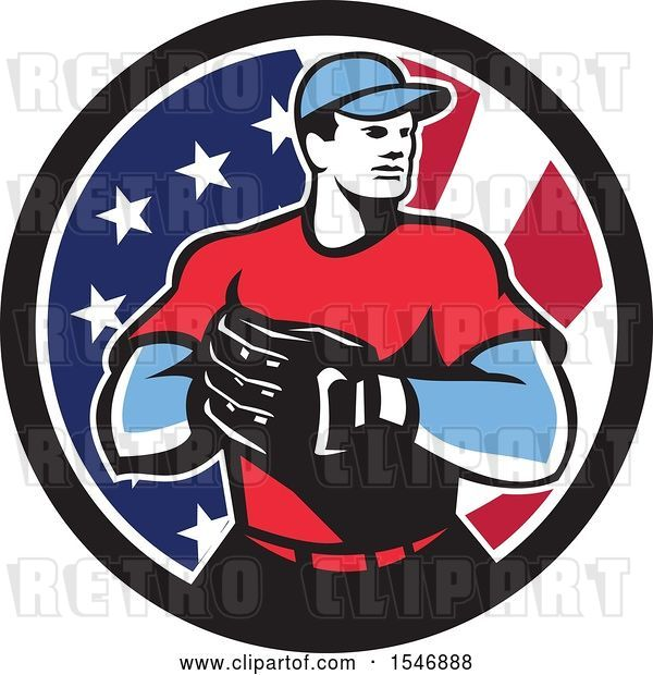 Vector Clip Art of Retro Male Baseball Player in an American Flag Circle