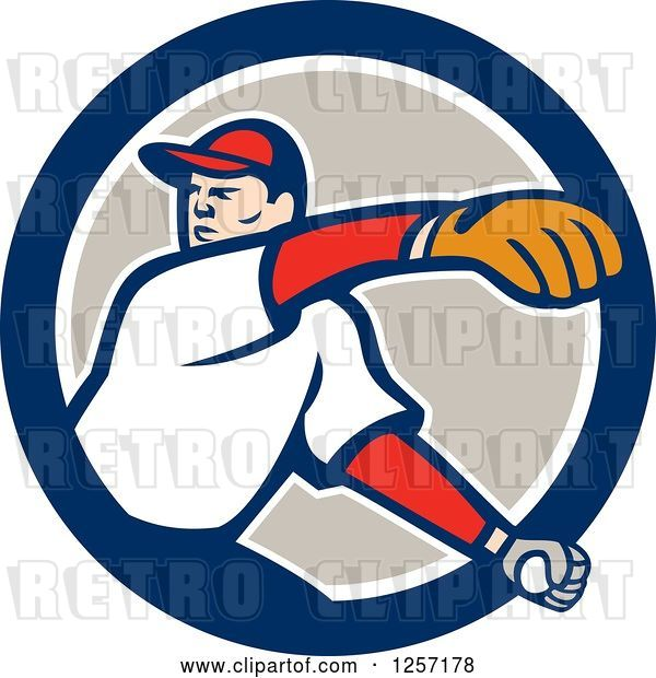 Vector Clip Art of Retro Male Baseball Player Pitching in a Blue White and Taupe Circle