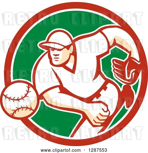 Vector Clip Art of Retro Male Baseball Player Pitching in a Red White and Green Circle