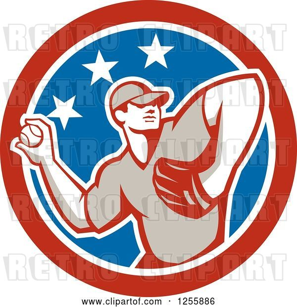 Vector Clip Art of Retro Male Baseball Player Pitching in an American Circle