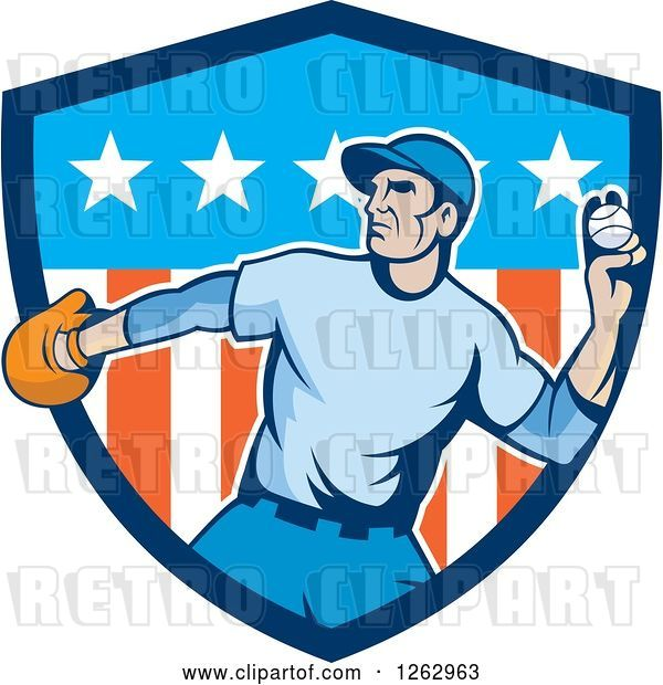 Vector Clip Art of Retro Male Baseball Player Pitching in an American Shield