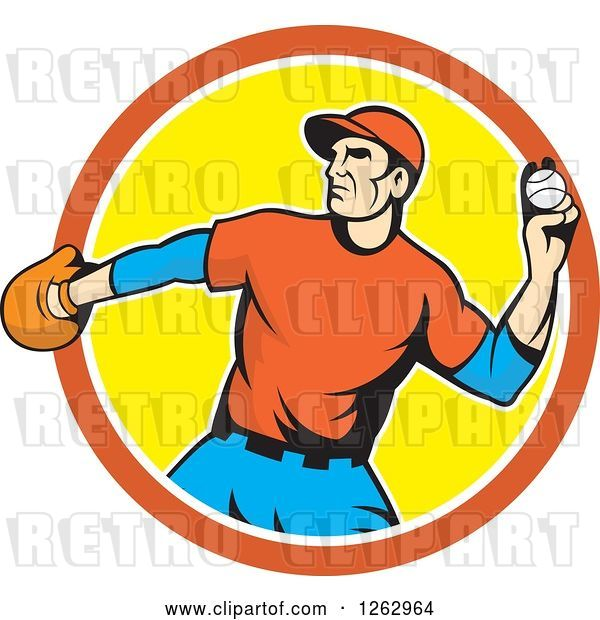 Vector Clip Art of Retro Male Baseball Player Pitching in an Orange White and Yellow Circle