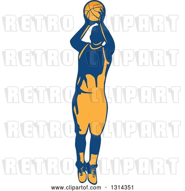 Vector Clip Art of Retro Male Basketball Player Doing a Jump Shot 2