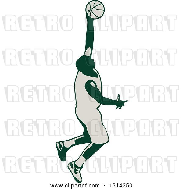 Vector Clip Art of Retro Male Basketball Player Doing a Jump Shot