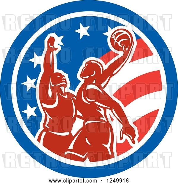 Vector Clip Art of Retro Male Basketball Players in an American Flag Circle