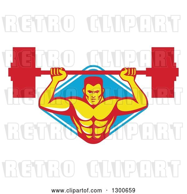 Vector Clip Art of Retro Male Bodybuilder Lifting a Barbell and Emerging from a Blue and White Diamond