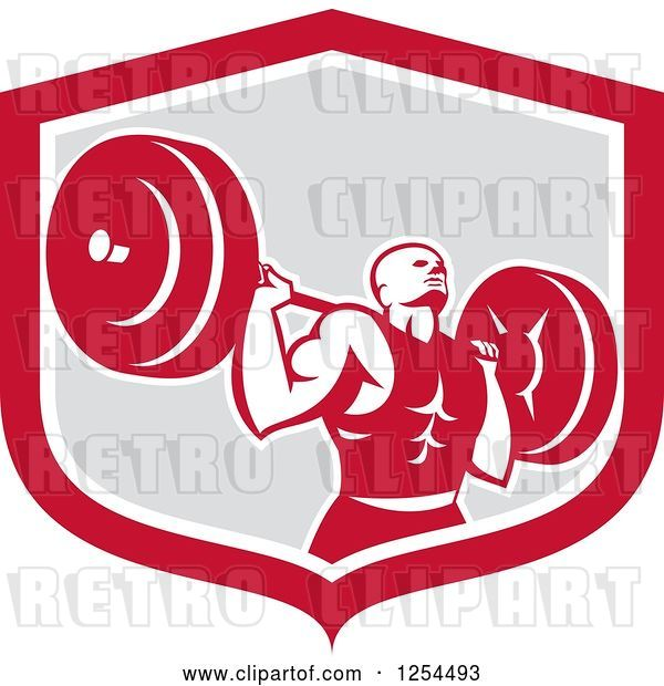Vector Clip Art of Retro Male Bodybuilder Squatting with a Barbell in a Red and Gray Shield