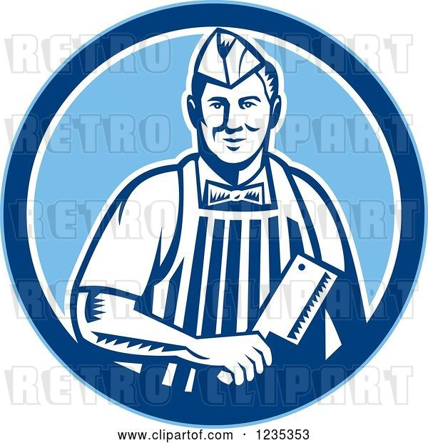 Vector Clip Art of Retro Male Butcher Holding a Meat Cleaver Knife in a Blue Circle