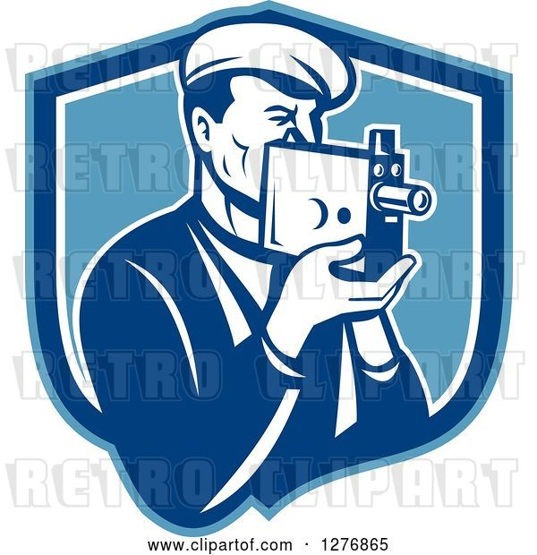 Vector Clip Art of Retro Male Camera Guy Filming in a Blue and White Shield