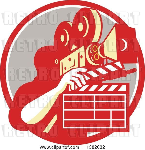 Vector Clip Art of Retro Male Cameraman Filming and Holding a Clapper in a Red White and Taupe Circle