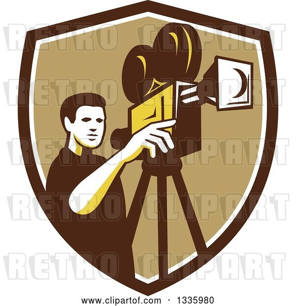Vector Clip Art of Retro Male Cameraman Filming in a Brown White and Tan Shield