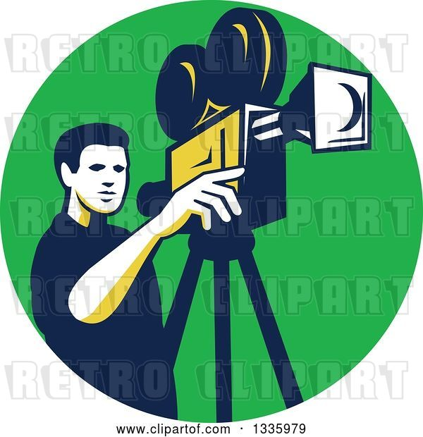 Vector Clip Art of Retro Male Cameraman Filming in a Green Circle
